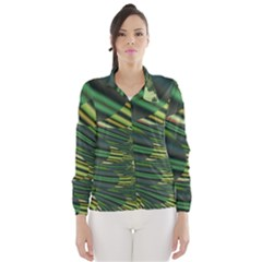 A Feathery Sort Of Green Image Shades Of Green And Cream Fractal Wind Breaker (Women)