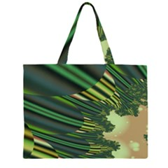 A Feathery Sort Of Green Image Shades Of Green And Cream Fractal Zipper Large Tote Bag