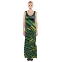A Feathery Sort Of Green Image Shades Of Green And Cream Fractal Maxi Thigh Split Dress