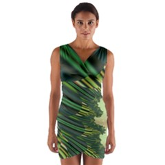A Feathery Sort Of Green Image Shades Of Green And Cream Fractal Wrap Front Bodycon Dress