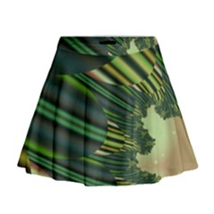 A Feathery Sort Of Green Image Shades Of Green And Cream Fractal Mini Flare Skirt