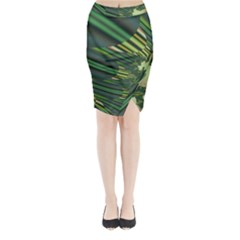 A Feathery Sort Of Green Image Shades Of Green And Cream Fractal Midi Wrap Pencil Skirt