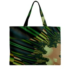A Feathery Sort Of Green Image Shades Of Green And Cream Fractal Medium Tote Bag