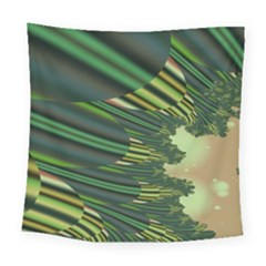 A Feathery Sort Of Green Image Shades Of Green And Cream Fractal Square Tapestry (large)