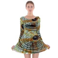 Macro Of The Eye Of A Chameleon Long Sleeve Skater Dress