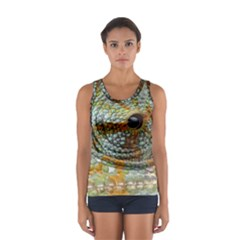 Macro Of The Eye Of A Chameleon Women s Sport Tank Top