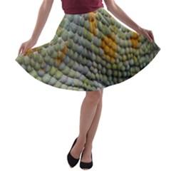 Macro Of Chameleon Skin Texture Background A Line Skater Skirt