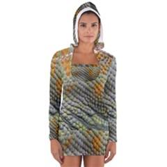 Macro Of Chameleon Skin Texture Background Women s Long Sleeve Hooded T Shirt