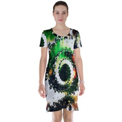 Fractal Universe Computer Graphic Short Sleeve Nightdress