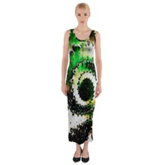 Fractal Universe Computer Graphic Fitted Maxi Dress