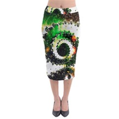 Fractal Universe Computer Graphic Midi Pencil Skirt