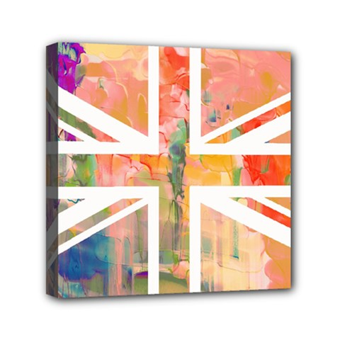 Union Jack Abstract Watercolour Painting Mini Canvas 6  x 6