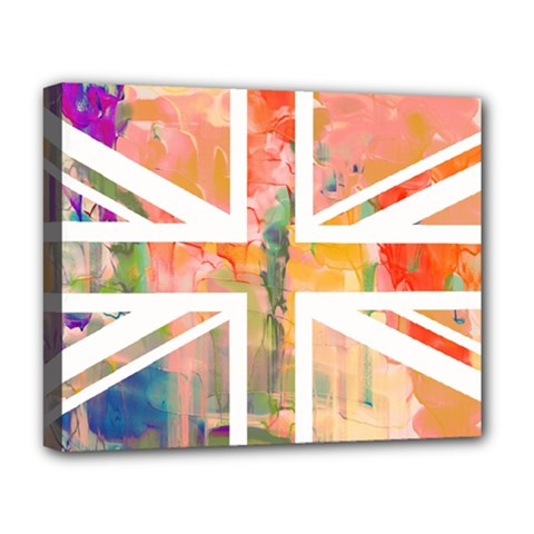 Union Jack Abstract Watercolour Painting Deluxe Canvas 20  X 16
