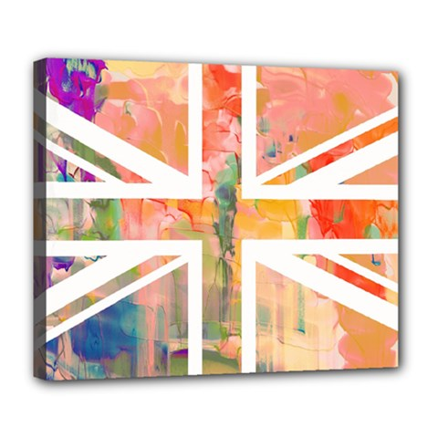 Union Jack Abstract Watercolour Painting Deluxe Canvas 24  X 20
