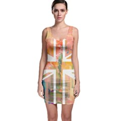 Union Jack Abstract Watercolour Painting Sleeveless Bodycon Dress