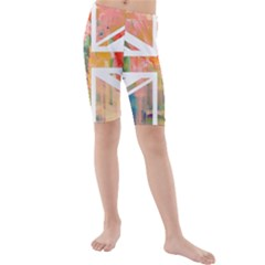 Union Jack Abstract Watercolour Painting Kids  Mid Length Swim Shorts