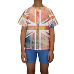 Union Jack Abstract Watercolour Painting Kids  Short Sleeve Swimwear