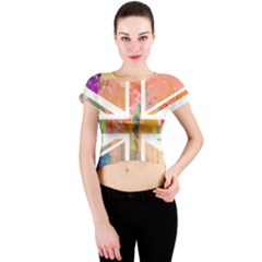 Union Jack Abstract Watercolour Painting Crew Neck Crop Top