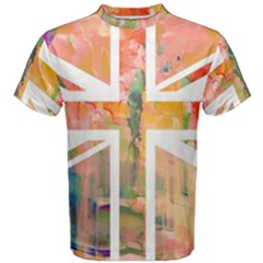 Union Jack Abstract Watercolour Painting Men s Cotton Tee