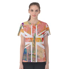 Union Jack Abstract Watercolour Painting Women s Cotton Tee