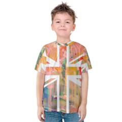 Union Jack Abstract Watercolour Painting Kids  Cotton Tee