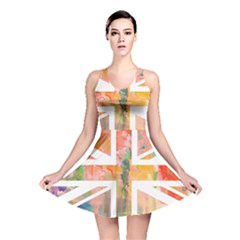 Union Jack Abstract Watercolour Painting Reversible Skater Dress