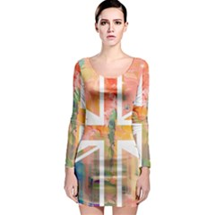 Union Jack Abstract Watercolour Painting Long Sleeve Bodycon Dress