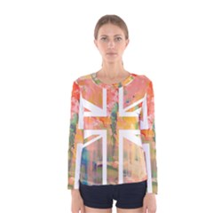 Union Jack Abstract Watercolour Painting Women s Long Sleeve Tee
