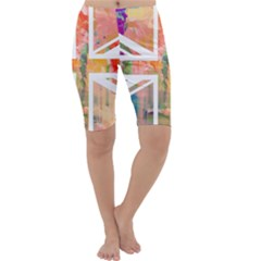 Union Jack Abstract Watercolour Painting Cropped Leggings