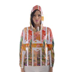 Union Jack Abstract Watercolour Painting Hooded Wind Breaker (Women)