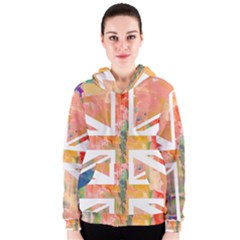 Union Jack Abstract Watercolour Painting Women s Zipper Hoodie