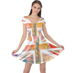 Union Jack Abstract Watercolour Painting Cap Sleeve Dresses