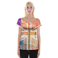 Union Jack Abstract Watercolour Painting Women s Cap Sleeve Top