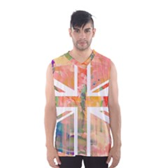 Union Jack Abstract Watercolour Painting Men s Basketball Tank Top