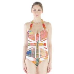 Union Jack Abstract Watercolour Painting Halter Swimsuit