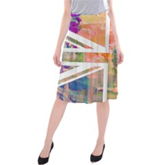 Union Jack Abstract Watercolour Painting Midi Beach Skirt