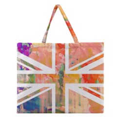Union Jack Abstract Watercolour Painting Zipper Large Tote Bag