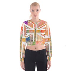 Union Jack Abstract Watercolour Painting Women s Cropped Sweatshirt