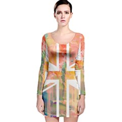 Union Jack Abstract Watercolour Painting Long Sleeve Velvet Bodycon Dress