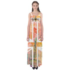 Union Jack Abstract Watercolour Painting Empire Waist Maxi Dress