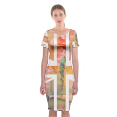 Union Jack Abstract Watercolour Painting Classic Short Sleeve Midi Dress