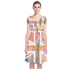 Union Jack Abstract Watercolour Painting Short Sleeve Front Wrap Dress
