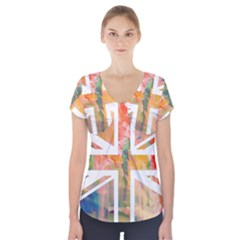Union Jack Abstract Watercolour Painting Short Sleeve Front Detail Top