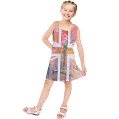 Union Jack Abstract Watercolour Painting Kids  Tunic Dress