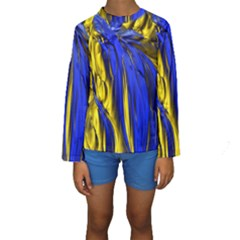 Blue And Gold Fractal Lava Kids  Long Sleeve Swimwear