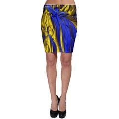 Blue And Gold Fractal Lava Bodycon Skirt