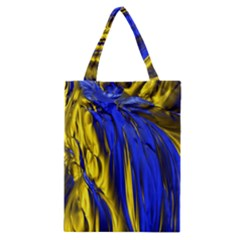 Blue And Gold Fractal Lava Classic Tote Bag