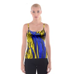 Blue And Gold Fractal Lava Spaghetti Strap Top
