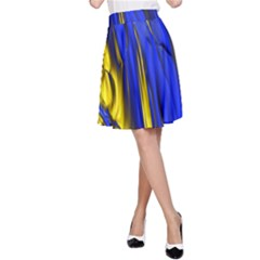 Blue And Gold Fractal Lava A-Line Skirt
