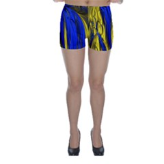 Blue And Gold Fractal Lava Skinny Shorts